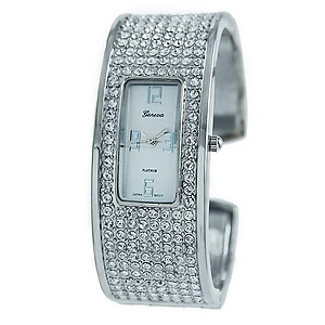 WA107: Tiffany Style Clear or Black Crystal Watch