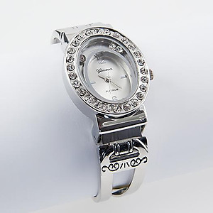 WA116: Silver Crystal Cuff Watch