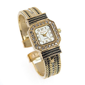 WA143: Gold and Black Enamael Watch