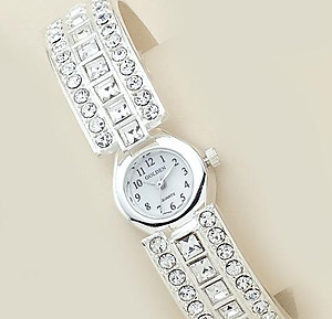 WA43: Clear Crystal Cuff / Bangle Watch