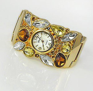 WA87T: Coffe Topaz Crystal Cuff / Bangle Silver Watch