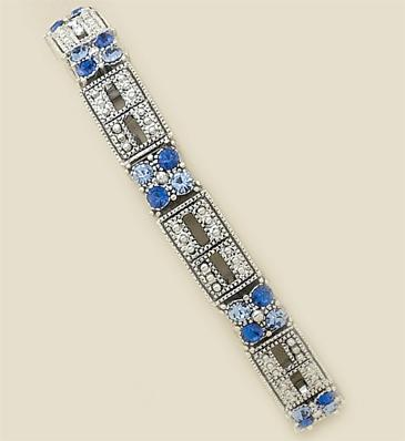 BR18B: Blue Pave' Set Crystal Stretch Bracelet