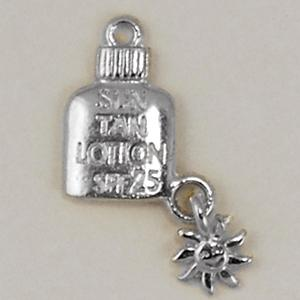 CH217: Sun Tan Lotion Charm in Gold or Silver