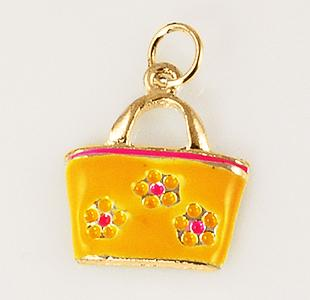 CH228: Ladies' Floral Purse Charm in Gold or Silver