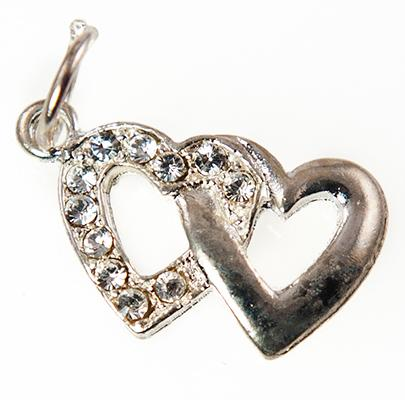 CH264:Crystal Double Heart Charm