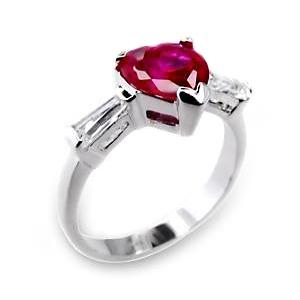 DG01: Sterling Silver Ruby Red Heart Ring