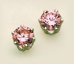 EA110PKS: Pink CZ Sterling Silver Post Earrings