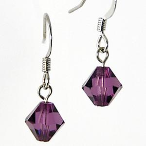 EA425: Amethyst (or Black) Crystal Octagon Earrings
