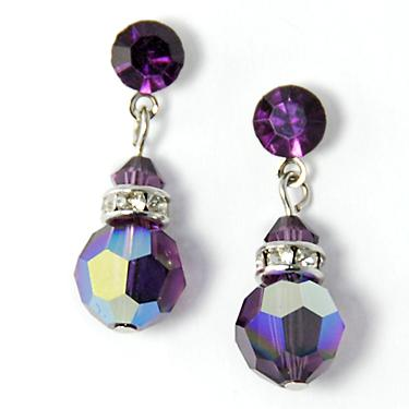 EA427: Swarovski Amethyst 8mm Drop Earrings