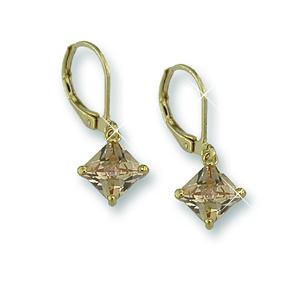 EA499: Topaz CZ Euro-Wire Earrings