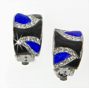 EA530: Black & Dark Blue Clip or Pierced Earrings