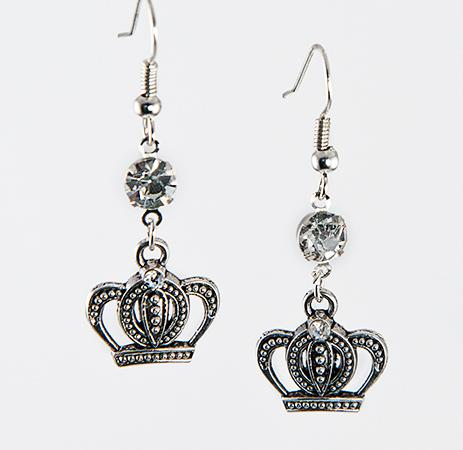 EA566: Silver Crown Earrings