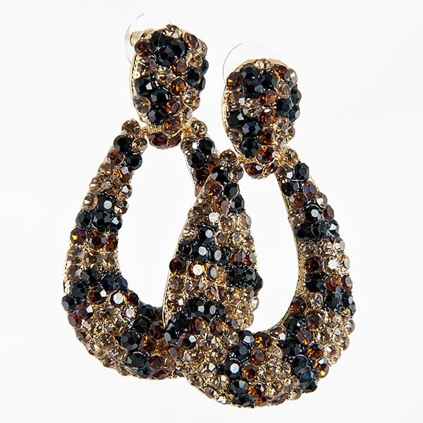 EA572: Exotic Crystal Leopard / Cheetah Doorknocker Earrings