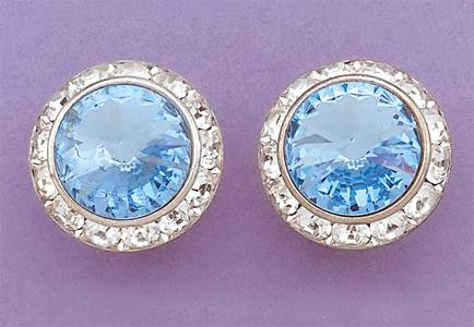 EA60BL: Large Blue Swarovski Crystal Classic Button Earrings