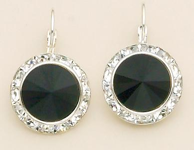 EA560BKF: Black Swarovski Crystal French Wire Earrings