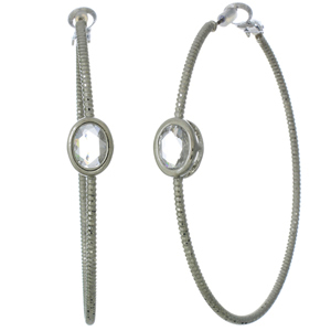 EA714: Elegant Silver Hoops with Crystals