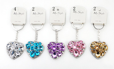 KE64: Jewel Tone Heart or Star Keychain