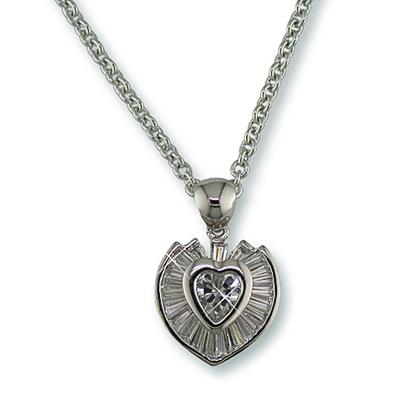 NC127: Exquisite CZ Channel Set Heart Necklace