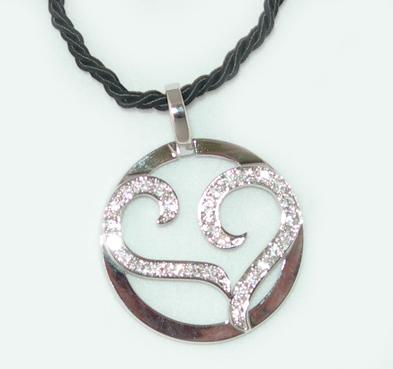 NC75: Tiffany Style Heart Necklace with CZs