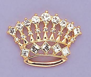 PA09C: Gold & Crystal Crown Pin in Gold or Silver
