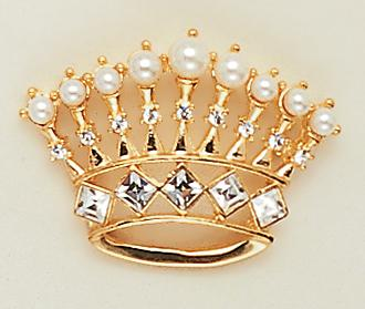 PA09P: Pearl & Crystal Crown Pin