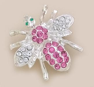 PA250DR: Bee Pin with Pink and Clear Crystals