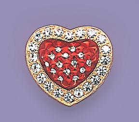 PA379: Ruby Red Heart Crystal Pin