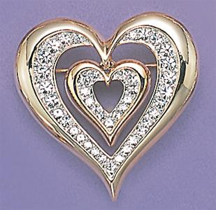 PA380: Heart in Heart Crystal Pin
