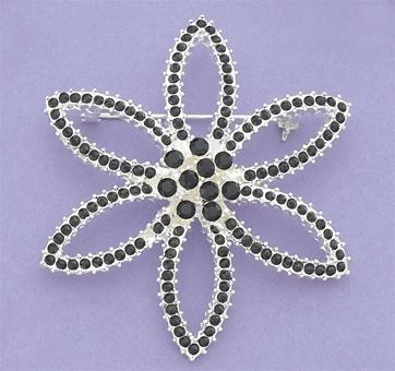 PA460DR: Crystal Flower Pin in Black or Pink