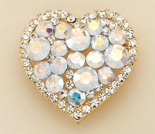 PA479: Crystal Heart Pin