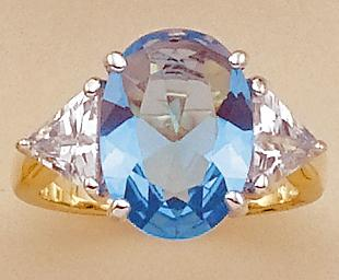 RA25B: Blue Oval CZ Ring