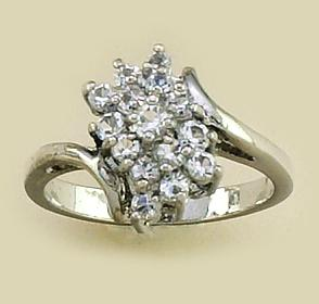 RA47: Silver Diamond CZ Cluster Ring