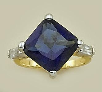RA99: Blue Pillow Cut CZ Ring