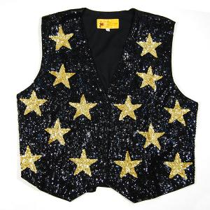 VE110: Sequine Black w/ Gold Stars Vest