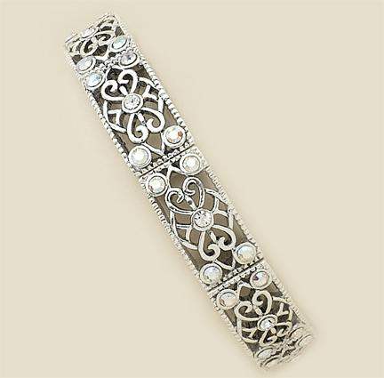 BR187C: Silver Crystal Filigree Stretch Bracelet