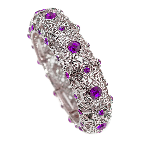 BR370: Silver and Crystal Fuschia or Amethyst Bracelet