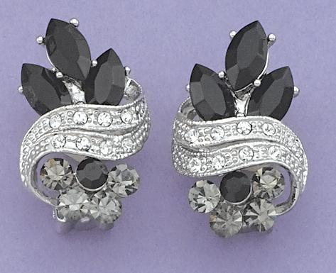 EA414: Elegant Austrian Crystal Jet Earrings