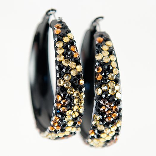 EA573: Exotic Crystal Leopard / Cheetah Hoop Earrings