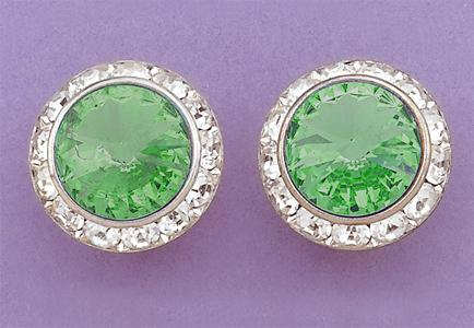 EA60G: Green Swarovski Crystal Classic Button Earrings