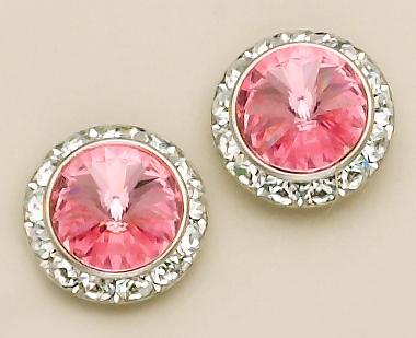 EA60P: Pink Swarovski Crystal Classic Button Earrings