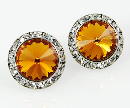 EA60T: Topaz Swarovski Crystal Classic Button Earrings