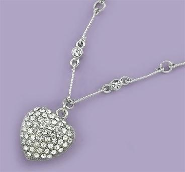 NA160: Crystal Pauve Set Heart Necklace
