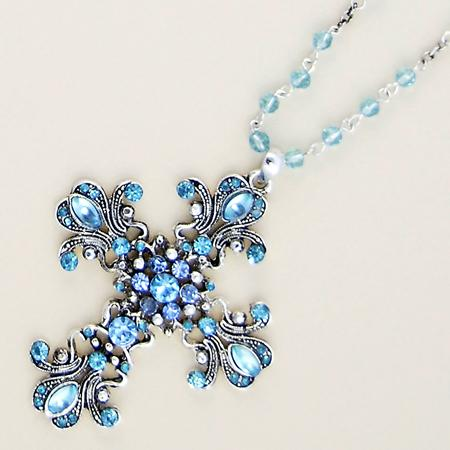 NA163: Austrian Crystal Cross Necklace (6 Colors Available)
