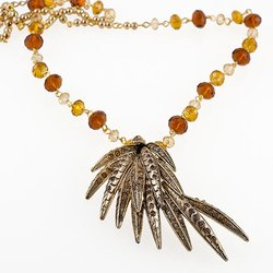NC159: Exotic Topaz and Gold Necklace and Earrings