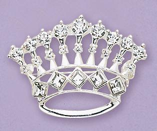 PA09S: Silver & Crystal Crown Pin