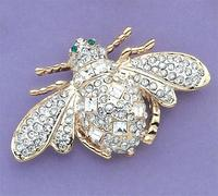 PA435: Large Austrian Crystal Bumble Bee Pink or Clear