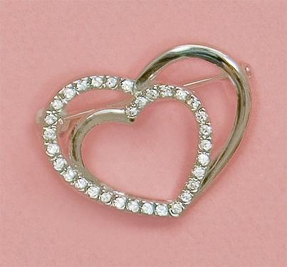 PA535: Silver Double Heart Crystal Pin