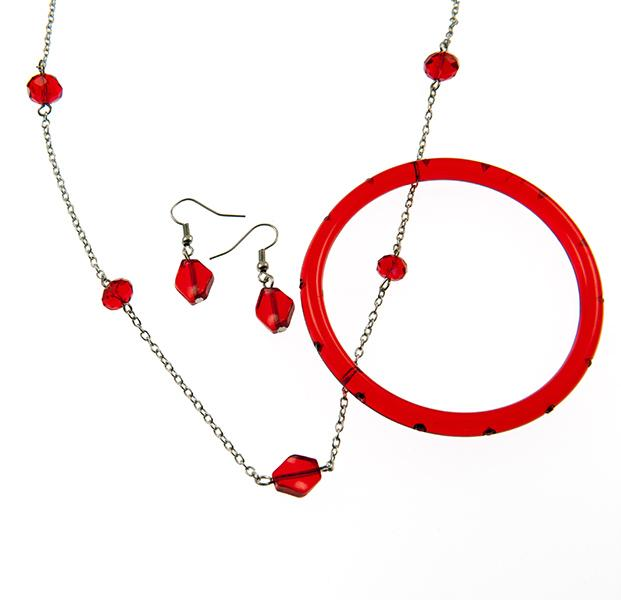 SN11PR:Necklace & Earring Set optional Bracelet