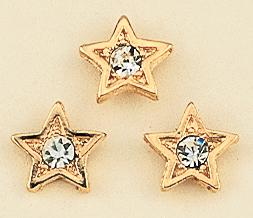 TA395: Star Tacs with Crystal in Gold or Silver, dozen count